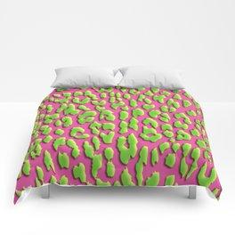 Bright Pink & Green Leopard Print Comforters