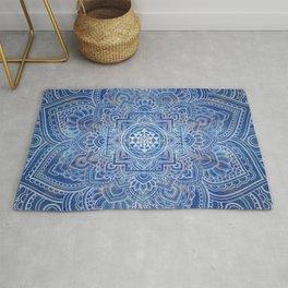 Sri Yantra  / Sri Chakra Blue Watercolor Rug