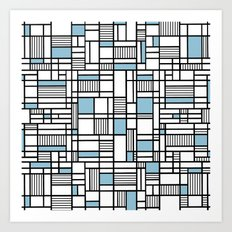 Map Lines Sky Blue Art Print