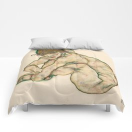 """Egon Schiele """"Crouching nude girl"""" Comforters"""