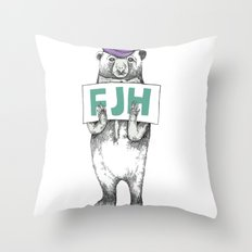 FJH-bear sign Throw Pillow
