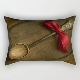 Red bow and ornamented spoon Rectangular Pillow