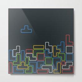 Retro Blocks Video Game Color Pattern Metal Print