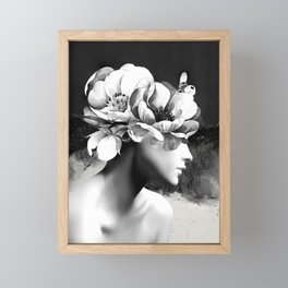 Floral Portrait-black and white Framed Mini Art Print