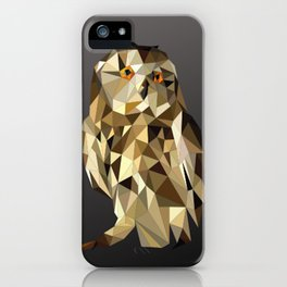owl in brown and gold abstract geometric origami pattern on black background iPhone Case