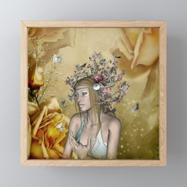 Beautiful fairy with butterflies and flowers Framed Mini Art Print
