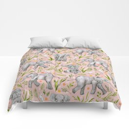 Baby Elephants and Egrets in watercolor - blush pink Comforters