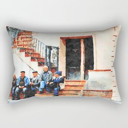 Old men sitting on the street Rectangular Pillow