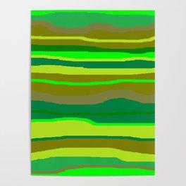 Green Multi Brush Strokes Poster