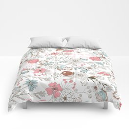 Modern abstract pink coral white rustic floral Comforters