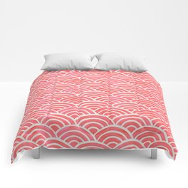 Japanese Seigaiha Wave Pattern – Coral Comforters