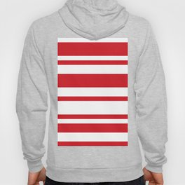 Mixed Horizontal Stripes - White and Fire Engine Red Hoody