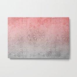 Oriental ornament pattern Rose Quartz Metal Print