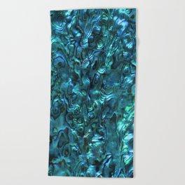 Abalone Shell   Paua Shell   Cyan Blue Tint Beach Towel
