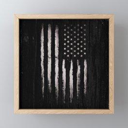 White Grunge American flag Framed Mini Art Print