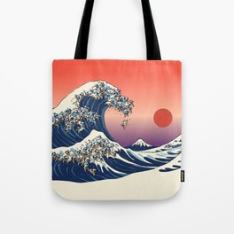 The Great Wave of Pugs / Square Tote Bag