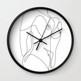 Minimal Line Art One Line Female Figure II Wall Clock
