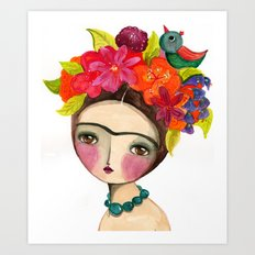 Frida And The Bird In Her Hair Art Print