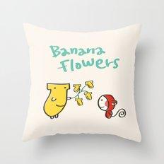 Banana Flowers Throw Pillow
