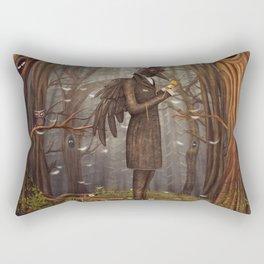 Raven in forest Rectangular Pillow