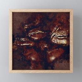 big coffee beans splatter watercolor Framed Mini Art Print