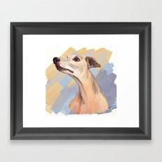 Whippet face Framed Art Print