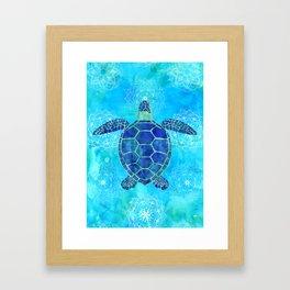 Watercolor Sea Turtles Mandalas Pattern Framed Art Print