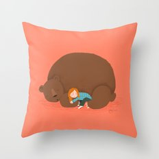 Bear and girl: sleeping Throw Pillow
