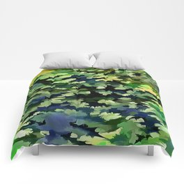 Foliage Abstract Pop Art In Green and Blue Comforters