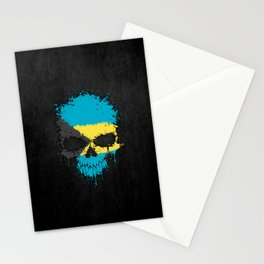 Flag of Bahamas on a Chaotic Splatter Skull Stationery Cards