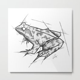 Frog Handmade Drawing, Made in pencil, charcoal and ink, Tattoo Sketch, Tattoo Flash, Sketch Metal Print