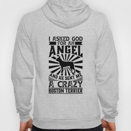 Asked God for Angel He sent Me A Crazy boston terrier Shirt Hoody