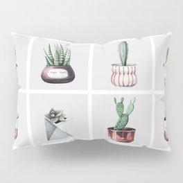 Cactus Bunch Grid Rose Gold Gray Green Pillow Sham