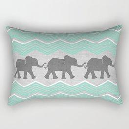 Three Elephants - Teal and White Chevron on Grey Rectangular Pillow