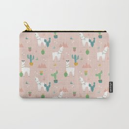 Summer Llamas on Pink Carry-All Pouch