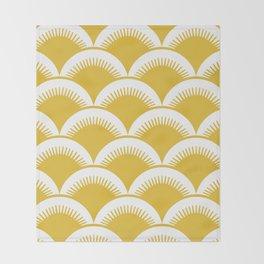 Japanese Fan Pattern Mustard Yellow Throw Blanket