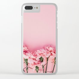 Blush Pink Flowers Clear iPhone Case