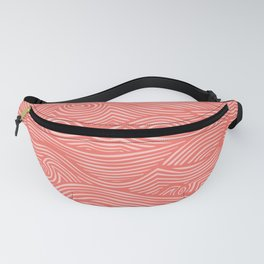 wavy lines in coral Fanny Pack