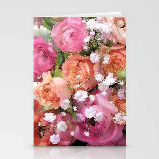 Baby's Breath and Candy Roses Stationery Cards