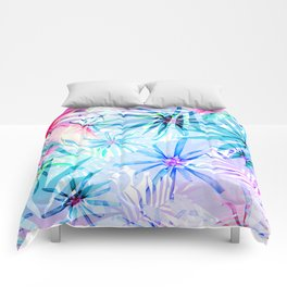 Flashy Colorful Tropical Flowers Design Comforters