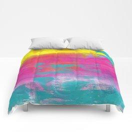 Neon Abstract Acrylic - Turquoise, Magenta & Yellow Comforters
