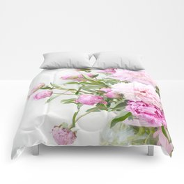 Shabby Chic Romantic Cottage Pink Peonies In Jar Comforters