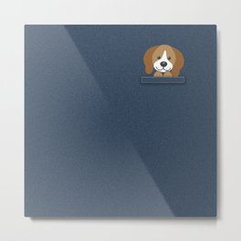 Beagle in a Pocket Metal Print