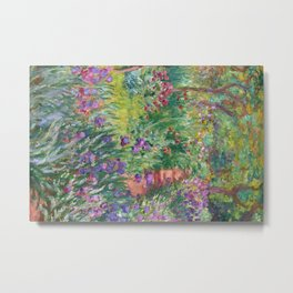 The Iris Garden at Giverny by Claude Monet Metal Print