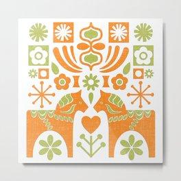 Swedish Folk Art MCModern_Chartreuse-Orange Metal Print