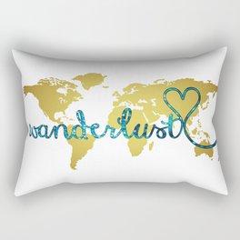 Wanderlust Gold Foil Map with Teal Glitter Text Rectangular Pillow