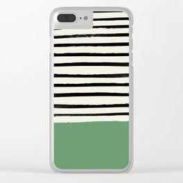 Moss Green x Stripes Clear iPhone Case