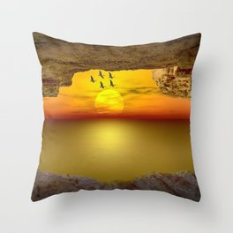 Sunset from the Cave Throw Pillow