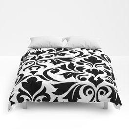 Flourish Damask Art I Black on White Comforters