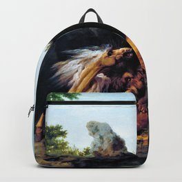 Horse Devoured By A Lion - George Stubbs Backpack